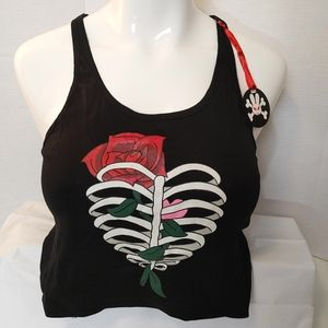 Hell Bunny Rib Cage Rose Crop Top Size Large